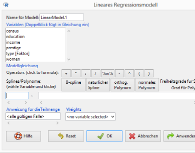 R Commander / Dialog Lineares Regressionsmodell